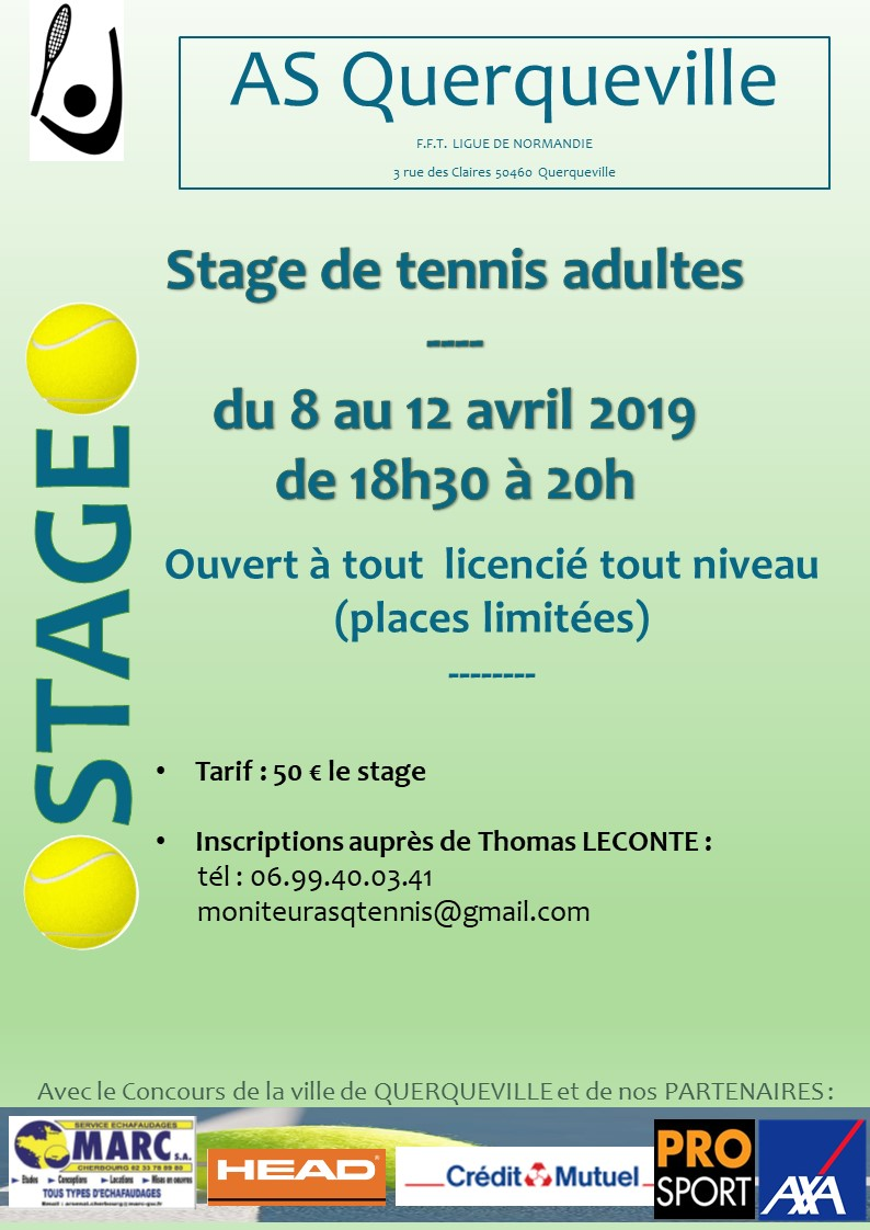 affiche stage tennis adulte avril 2019