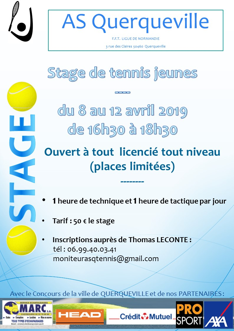 affiche stage tennis jeunes avril 2019