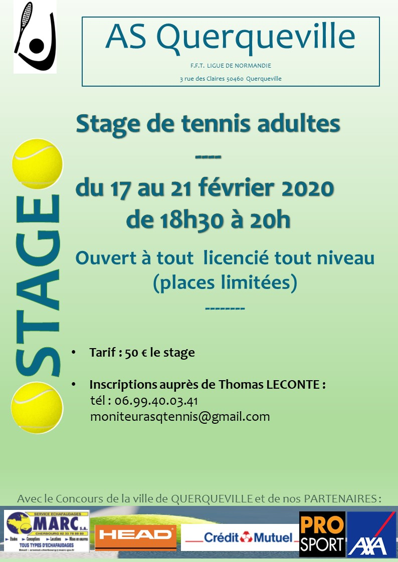 affiche stage tennis adulte fevrier 2020